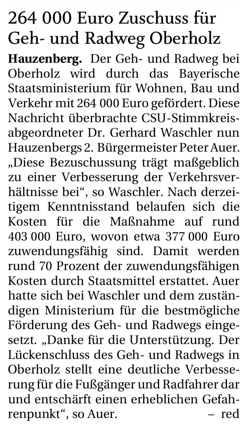 264000 Euro Zuschuss für Geh- und Radweg Oberholz