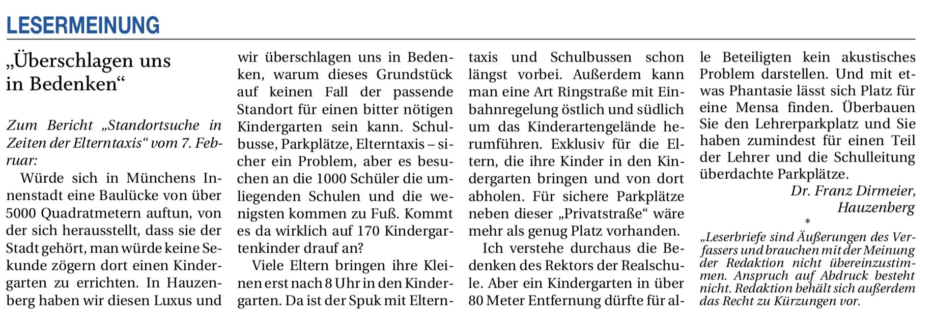 Kindergartenstandort – und wieder keine Entscheidung!