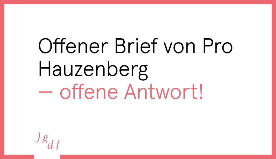 Offener Brief von Pro Hauzenberg — offene Antwort!